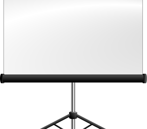 Een hoogstaand projectiescherm voor presentaties